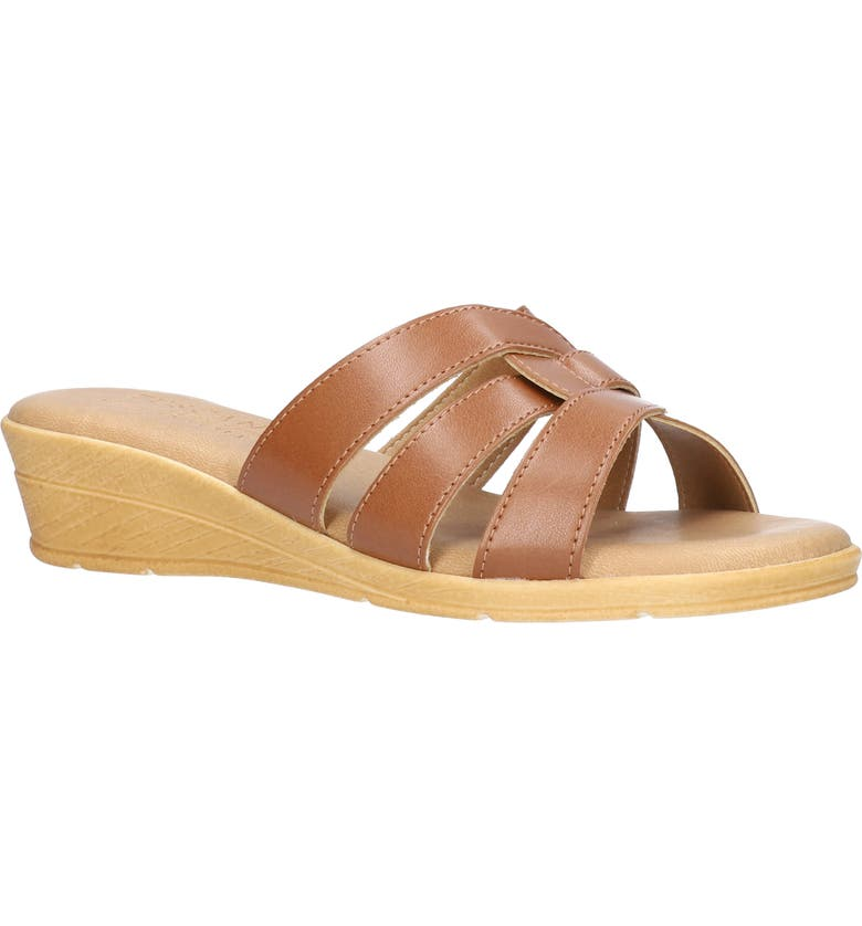 TUSCANY BY EASY STREET<SUP>®</SUP> Tazia Wedge Slide Sandal, Main, color, TAN FAUX LEATHER