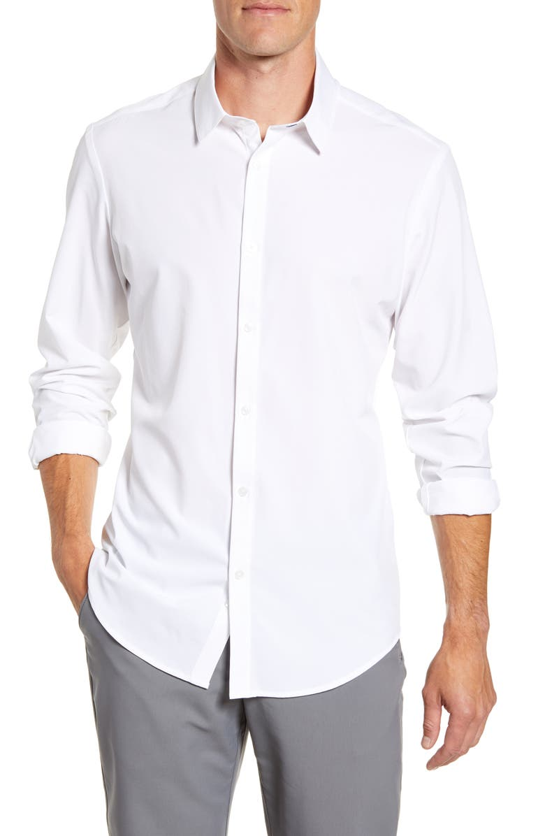 MIZZEN+MAIN Manhattan Trim Fit Shirt, Main, color, WHITE SOLID