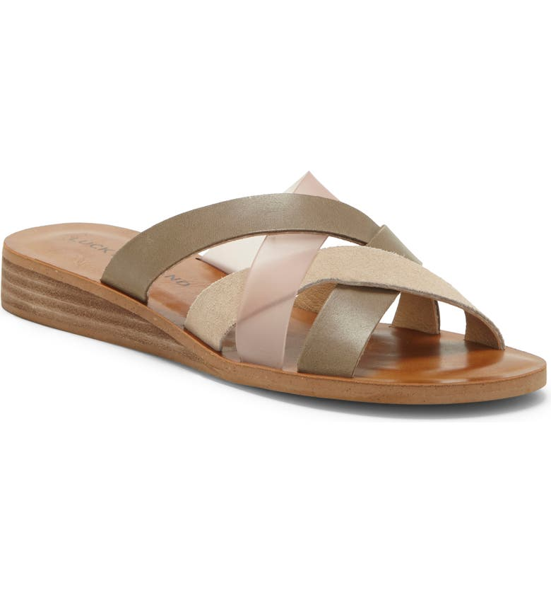 LUCKY BRAND Hallisa Slide Sandal, Main, color, FOSSILIZED/ CLEAR LEATHER