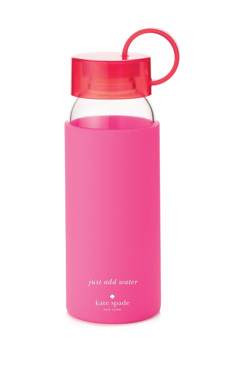 KATE SPADE NEW YORK glass & silicone water bottle, Main, color, 600