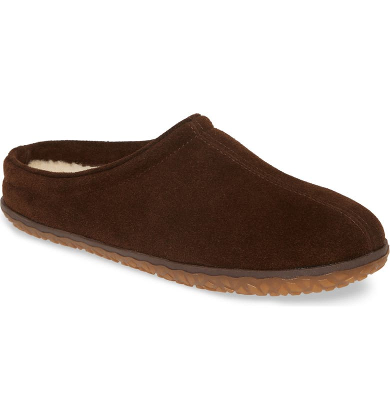 MINNETONKA Taylor Slipper, Main, color, CHOCOLATE SUEDE