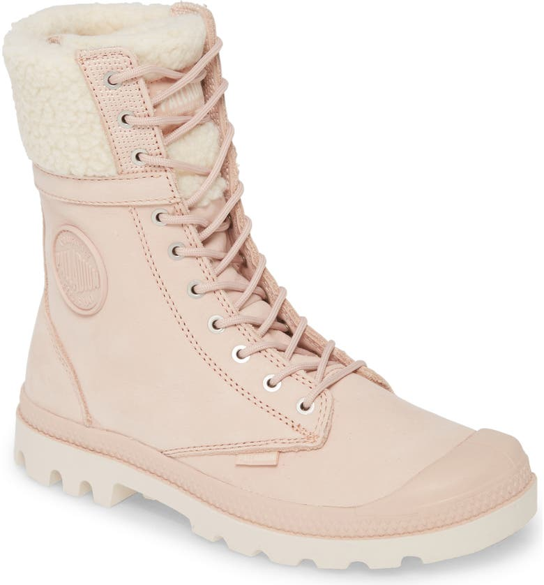 PALLADIUM Baggy Pilot Faux Shearling Lined Boot, Main, color, ROSE DUST LEATHER
