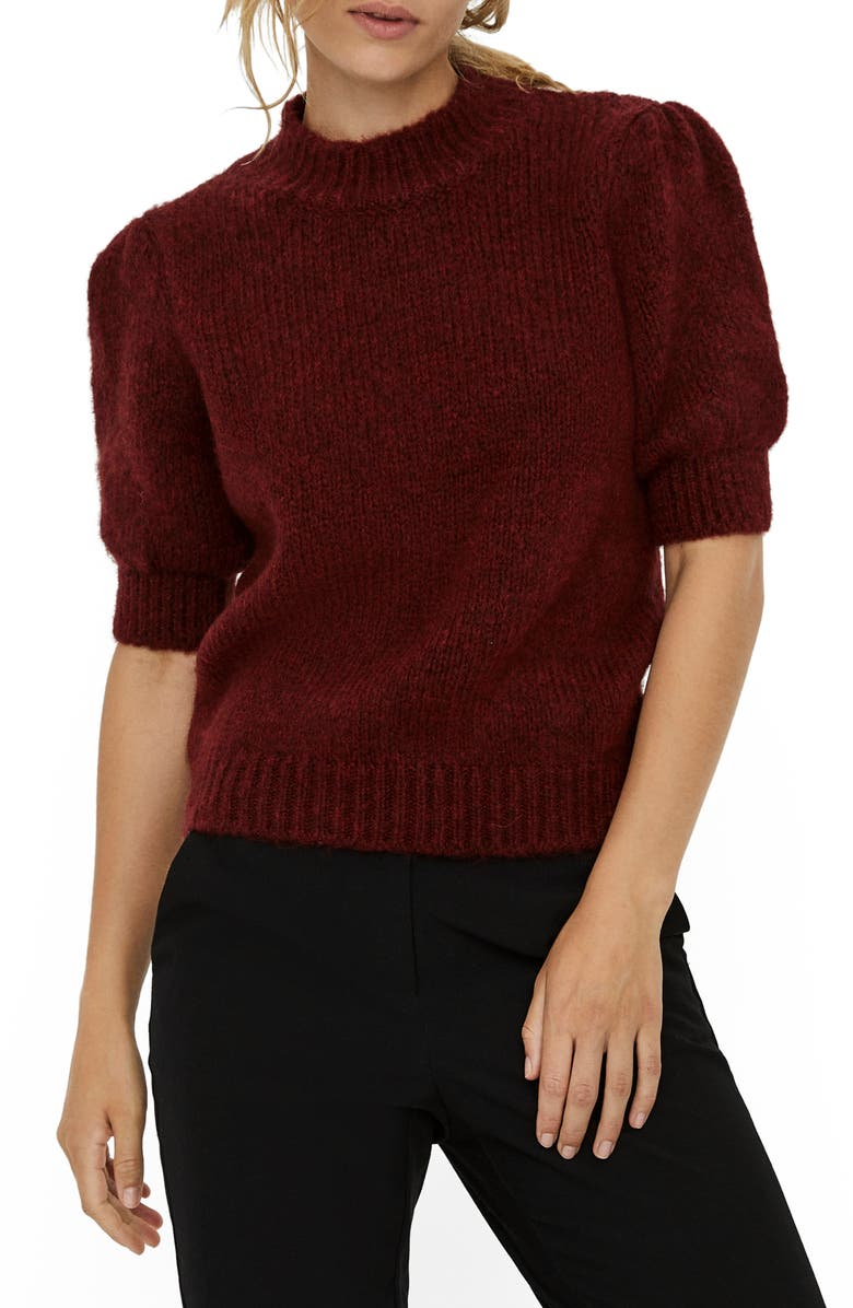 VERO MODA Puff Sleeve Sweater, Main, color, CABERNET