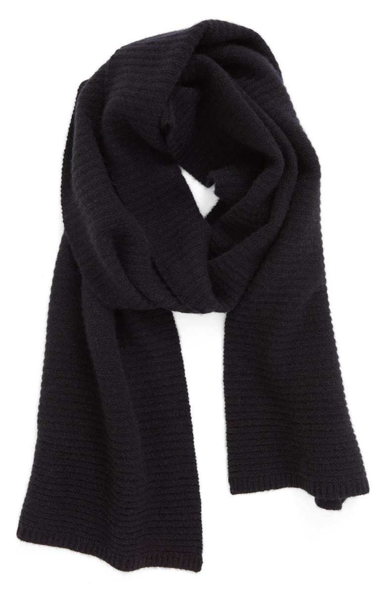 HALOGEN<SUP>®</SUP> Ribbed Cashmere Muffler, Main, color, 001