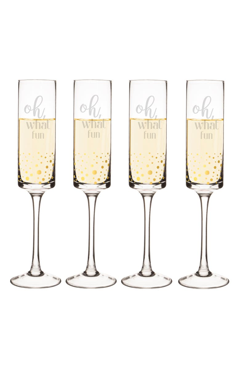 CATHY'S CONCEPTS Oh What Fun Set of 4 Champagne Flutes, Main, color, 710
