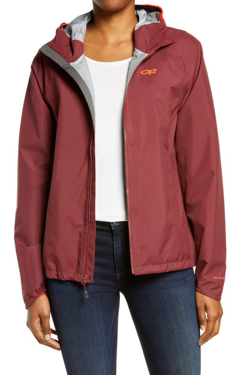OUTDOOR RESEARCH Motive Ascent Shell Waterproof Women's Jacket, Main, color, BURGUNDY