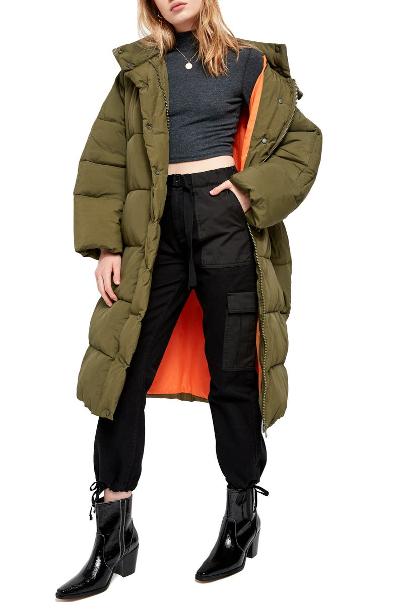 BDG URBAN OUTFITTERS Longline Puffer Coat, Main, color, 300