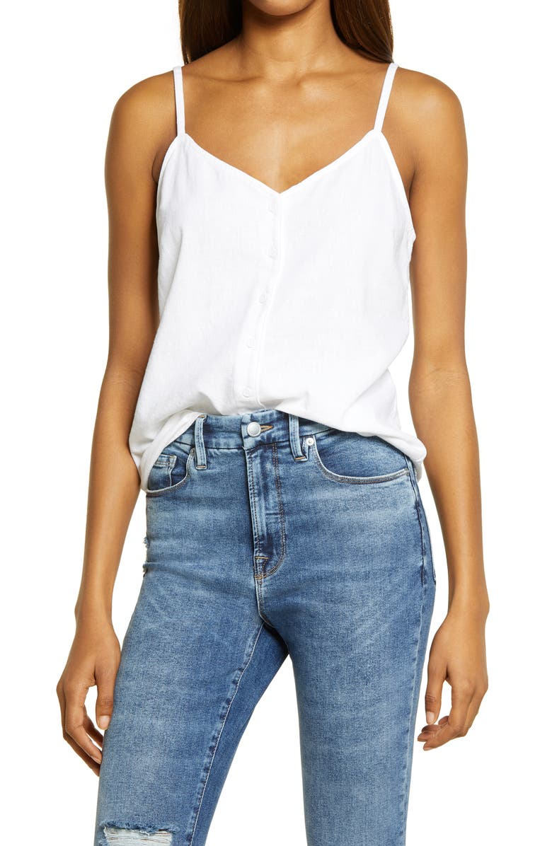 TREASURE & BOND Button-Up Linen Blend Camisole, Main, color, White