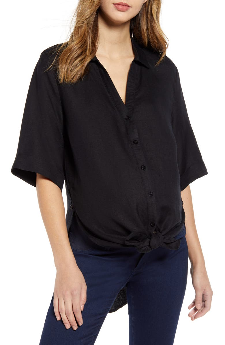 ANGEL MATERNITY Tie Front Maternity Button-Up Shirt, Main, color, Black