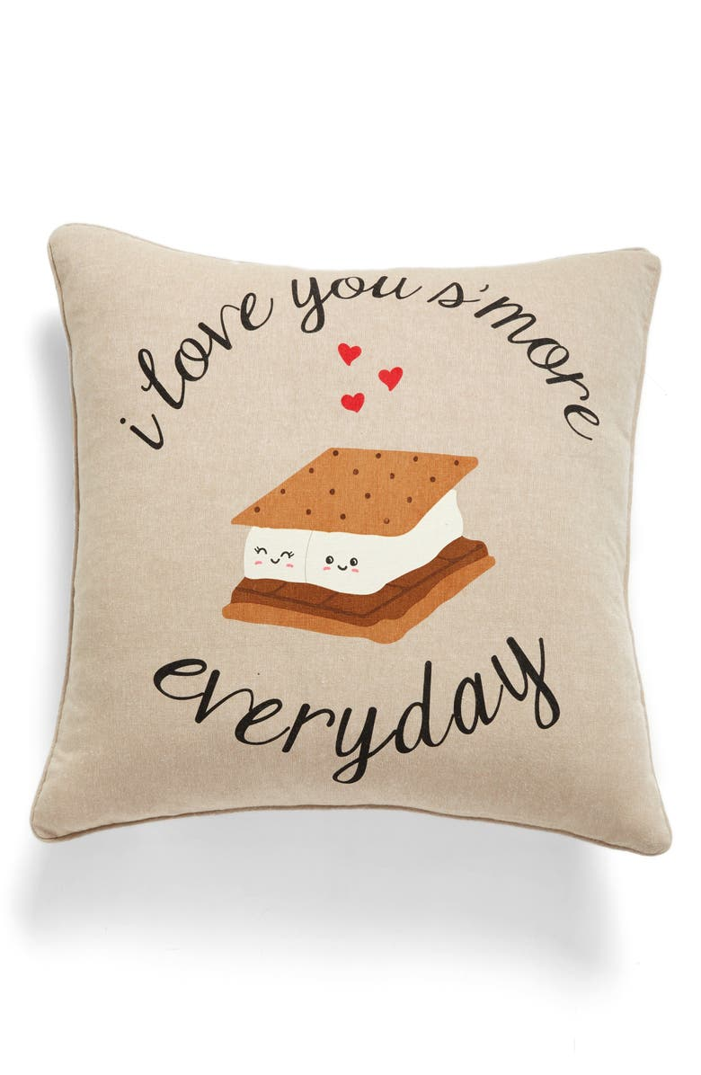 LEVTEX Love You S'more Accent Pillow, Main, color, TAUPE
