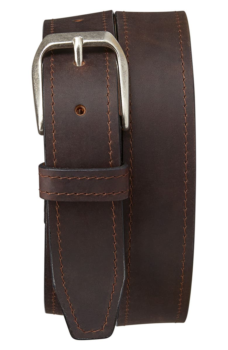 TRASK Darby Leather Belt, Main, color, BROWN
