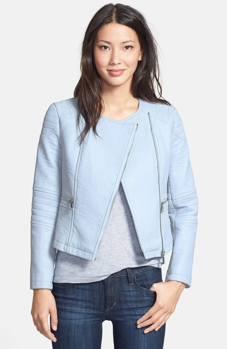 VINCE CAMUTO Collarless Faux Leather Jacket, Main, color, 429