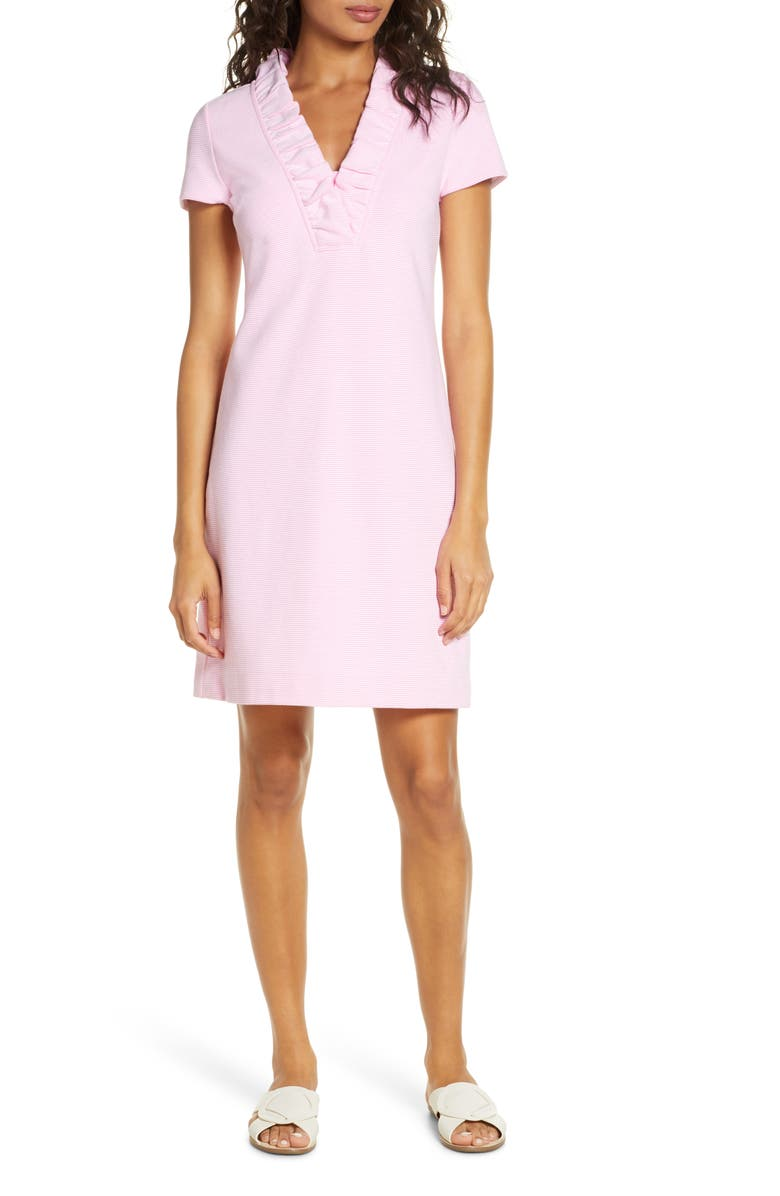 LILLY PULITZER<SUP>®</SUP> Tisbury Stripe Ruffle Neck Dress, Main, color, 653