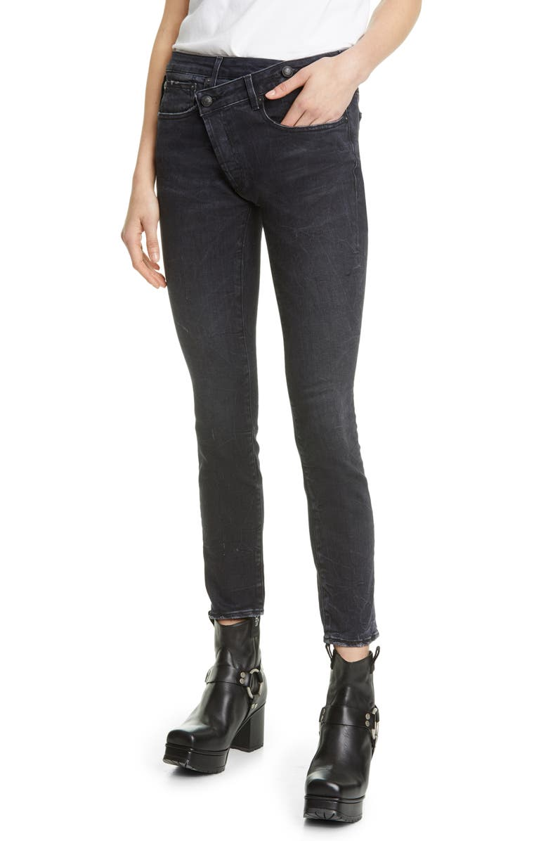 R13 Crossover Skinny Jeans, Main, color, 001