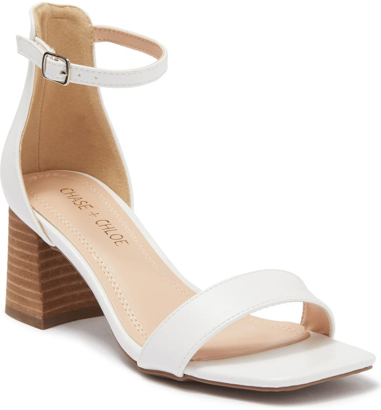 CHASE AND CHLOE Ankle Strap Block Heel Sandal, Main, color, WHITE PU