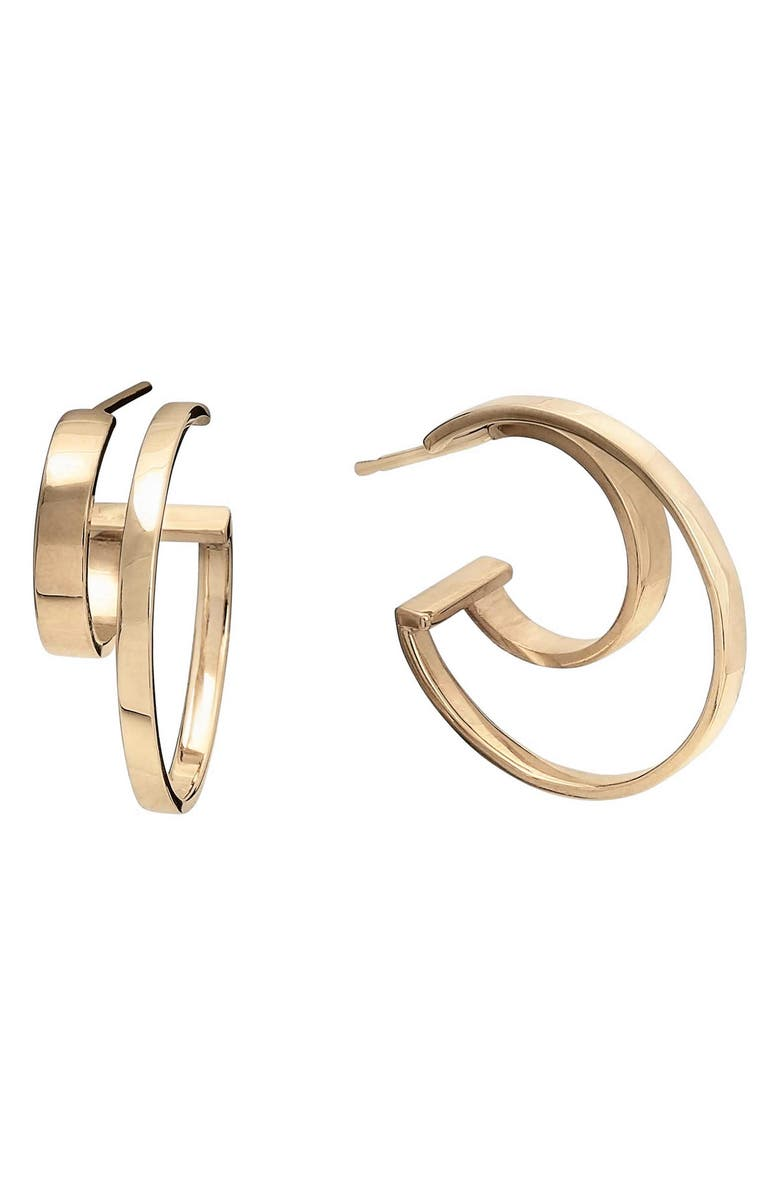 LANA JEWELRY Connecting Double Row Small Flat Hoop Earrings, Main, color, YELLOW GOLD