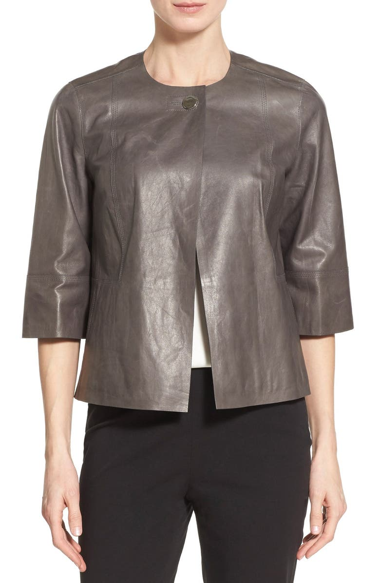 LAFAYETTE 148 NEW YORK 'Athea' Glazed Lambskin Leather Topper, Main, color, 075