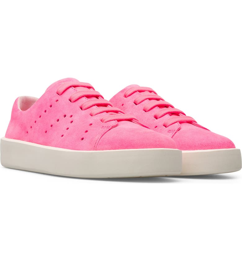 CAMPER Courb Perforated Suede Sneaker, Main, color, BRIGHT PINK
