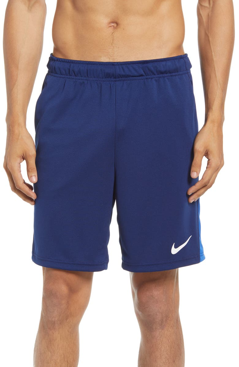 NIKE Dry 5.0 Athletic Shorts, Main, color, BLUE VOID/ GAME ROYAL/ WHITE
