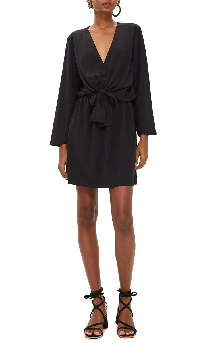 TOPSHOP Tiffany Knot Minidress, Main, color, 001