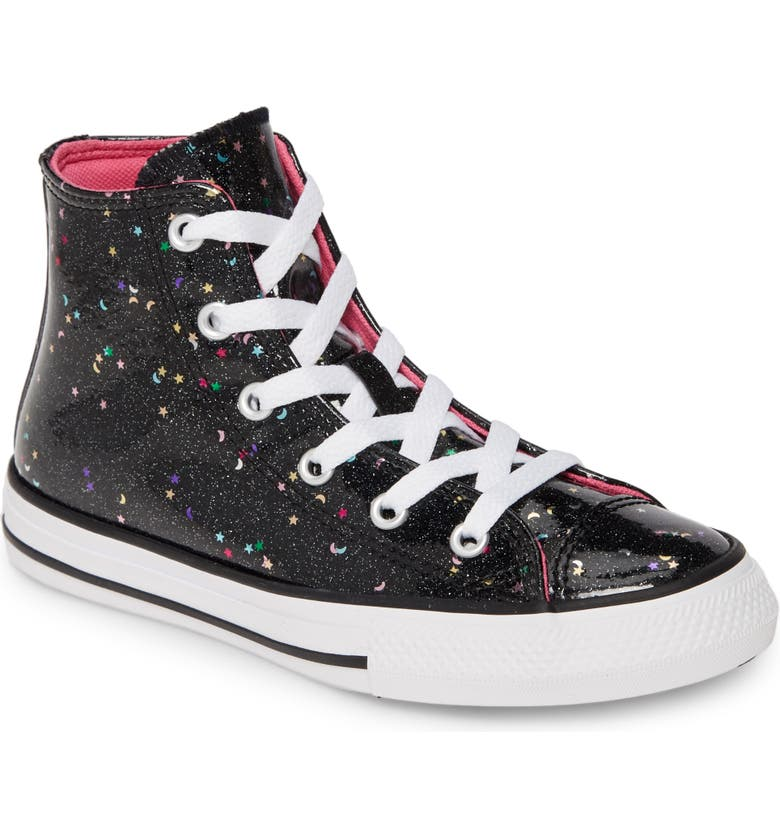 CONVERSE Chuck Taylor<sup>®</sup> All Star<sup>®</sup> Glitter Galaxy High Top Sneaker, Main, color, 001