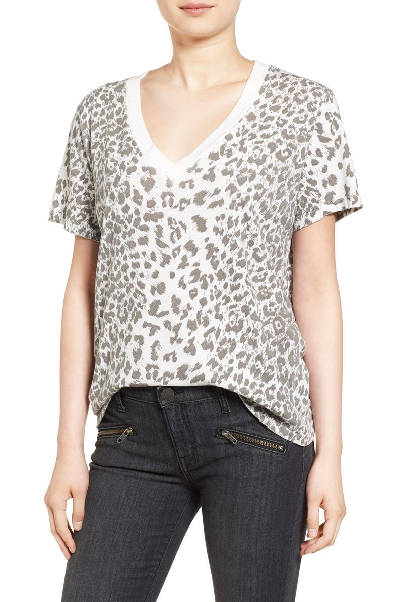 CURRENT/ELLIOTT Cheetah Print Cotton Tee, Main, color, 132