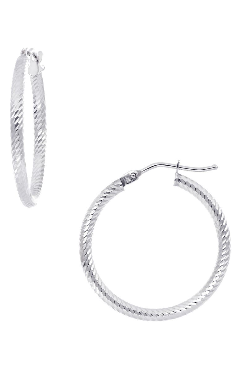 BONY LEVY 14K Gold Twisted Rope Hoop Earrings, Main, color, WHITE GOLD