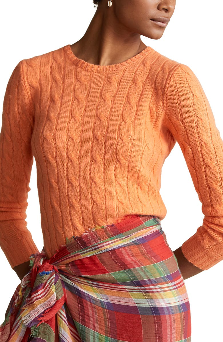 POLO RALPH LAUREN Cable Cashmere Sweater, Main, color, MAY ORANGE