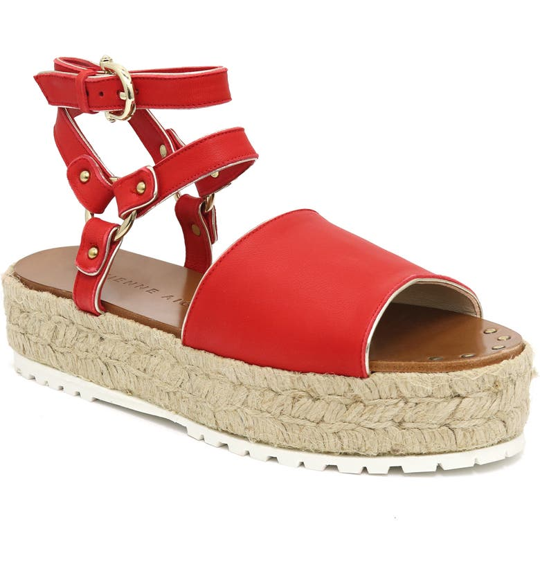 ETIENNE AIGNER Winona Ankle Strap Platform Sandal, Main, color, POPPY NAPPA LEATHER