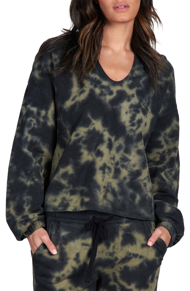 SANCTUARY Perfect Tie Dye Split Neck Sweatshirt, Main, color, ORGANIC GREEN/ BLACK TIE DYE