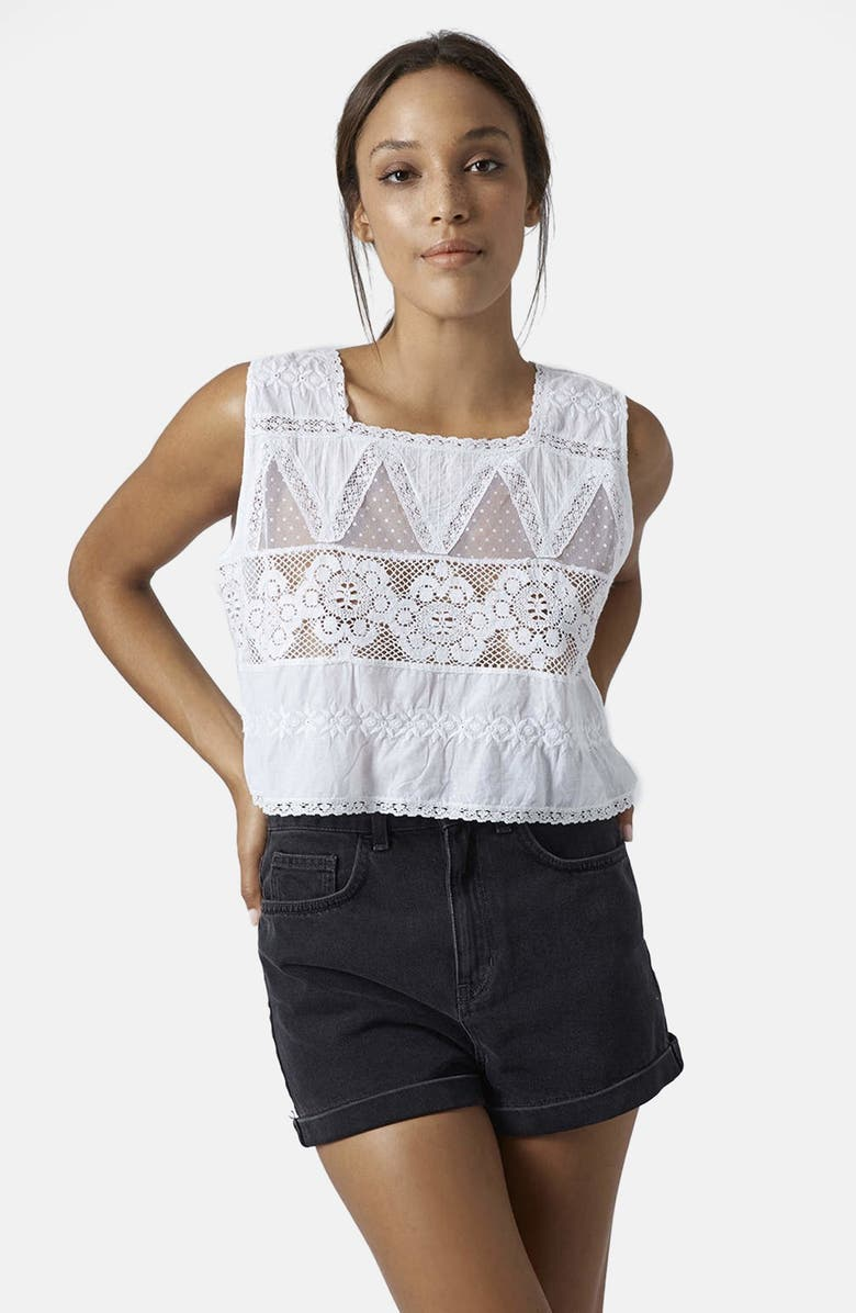 TOPSHOP Sleeveless Cotton Embroidered Blouse, Main, color, 100