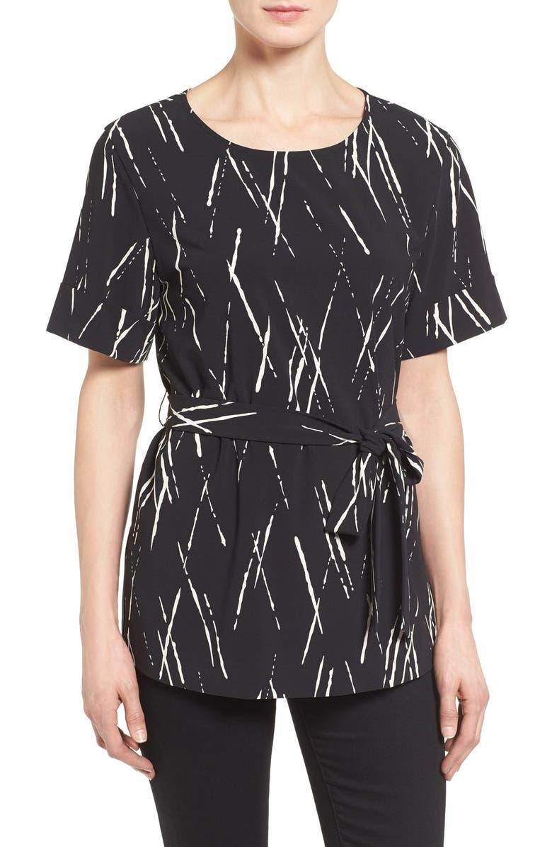 HALOGEN<SUP>®</SUP> Belted Short Sleeve Top, Main, color, 001