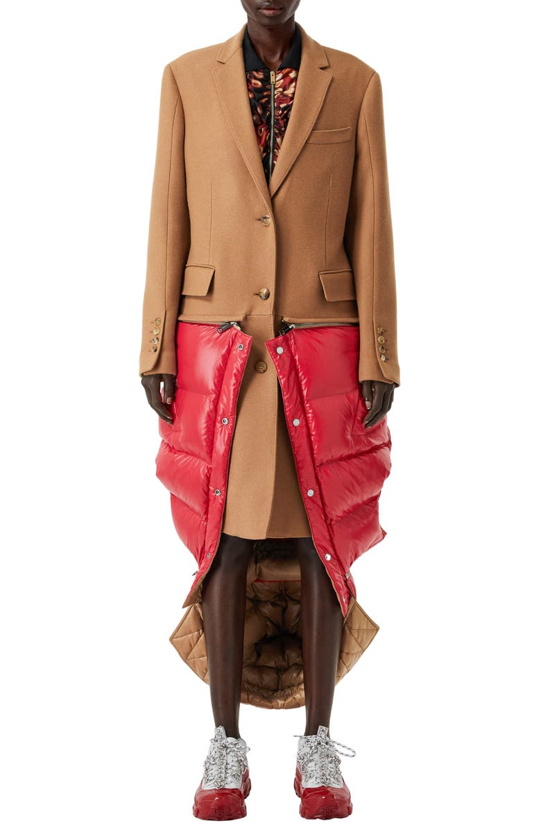 BURBERRY 2-in-1 Camel Hair Coat with Reversible Puffer Vest, Main, color, 200