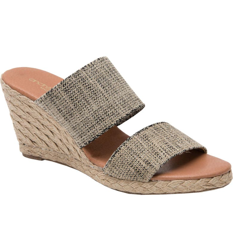 ANDRÉ ASSOUS Amalia Strappy Espadrille Wedge Slide Sandal, Main, color, BLACK AND BEIGE FABRIC