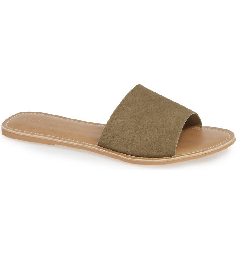 BEACH BY MATISSE Coconuts by Matisse Cabana Slide Sandal, Main, color, LIGHT OLIVE SUEDE