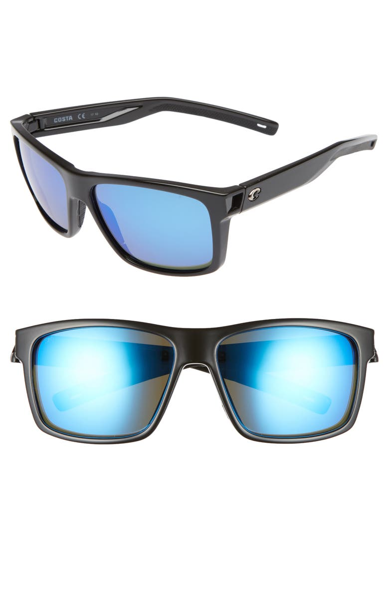 COSTA DEL MAR Slack Tide 58mm Polarized Sunglasses, Main, color, SHINY BLACK/ BLUE MIRROR