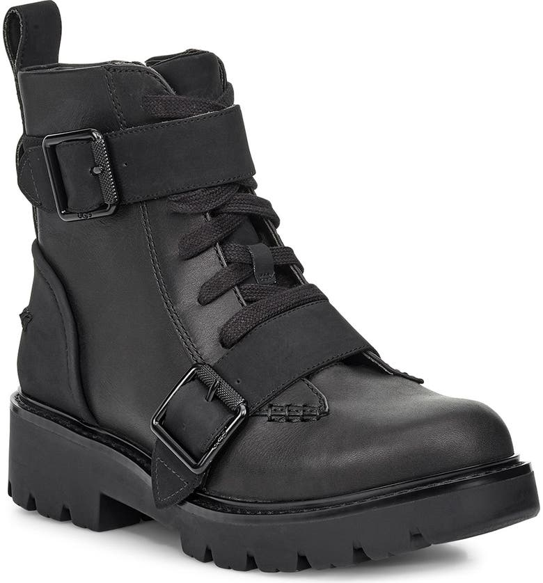 UGG<SUP>®</SUP> Noe Moto Boot, Main, color, BLACK LEATHER