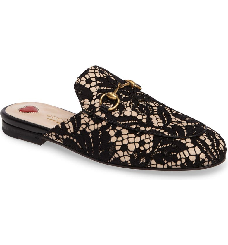 GUCCI Lace Princetown Loafer Mule, Main, color, 001