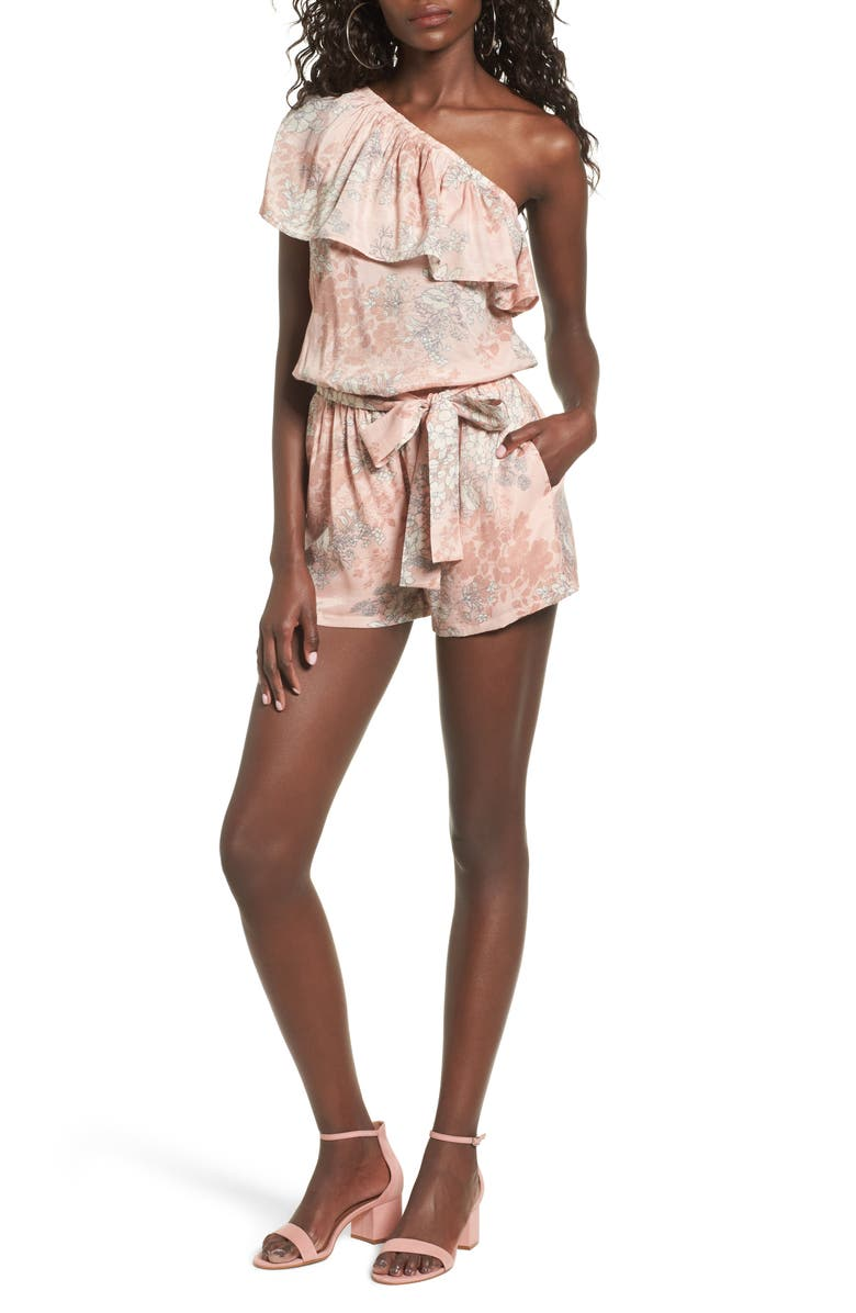 MIMI CHICA Ruffle One-Shoulder Romper, Main, color, BLUSH FLORAL
