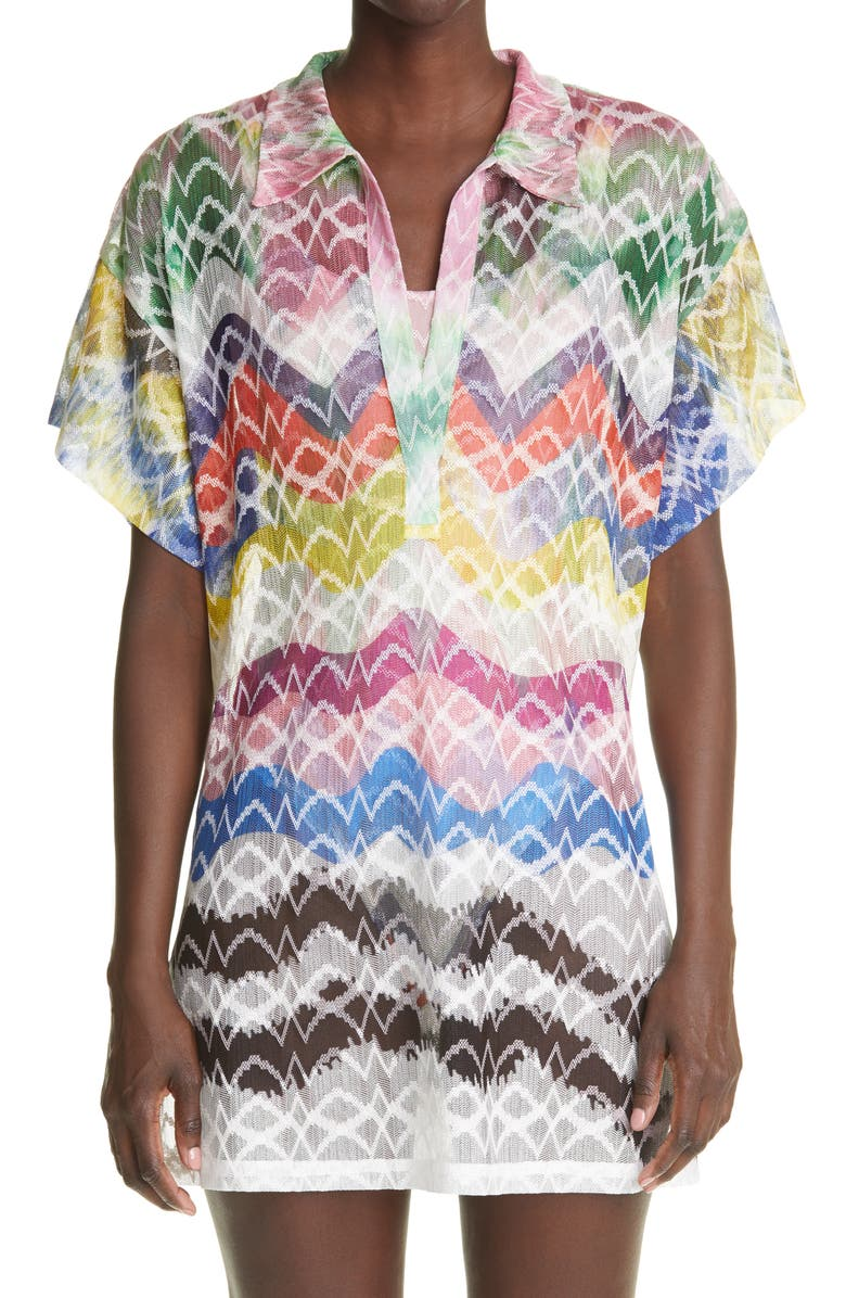 MISSONI Short Sleeve Cover-Up Tunic, Main, color, MULTI