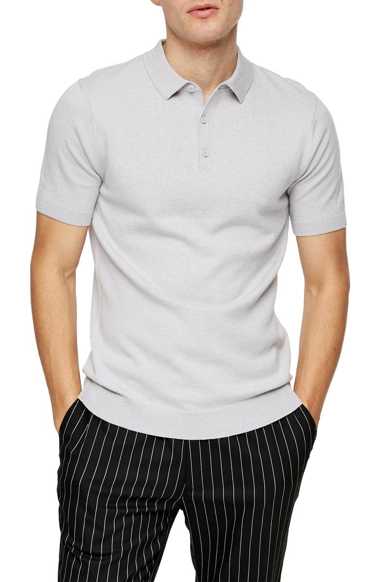 TOPMAN Solid Knit Polo, Main, color, 020