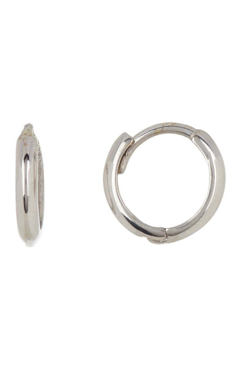 CANDELA JEWELRY 14K White Gold 11mm Huggie Earrings, Main, color, WHITE GOLD