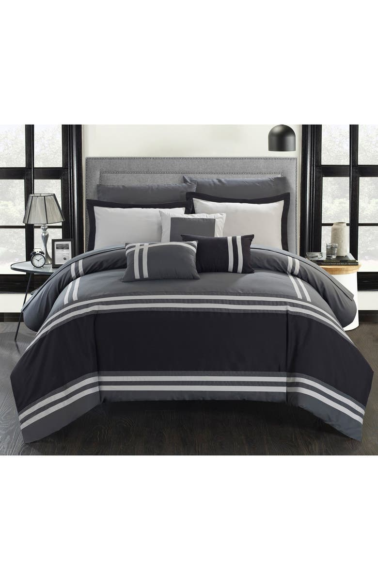 CHIC Annabel Supersoft Oversized Pieced Color Block Banding Collection Queen Comforter 10-Piece Set, Grey, Main, color, GREY