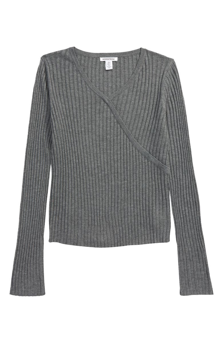 NORDSTROM 1901 Kids' Faux Wrap Ribbed Sweater, Main, color, GREY DARK HEATHER