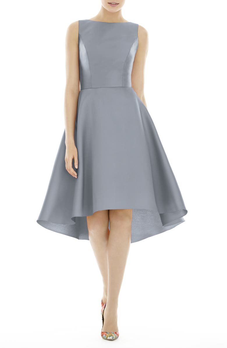 ALFRED SUNG High/Low Cocktail Dress, Main, color, PLATINUM