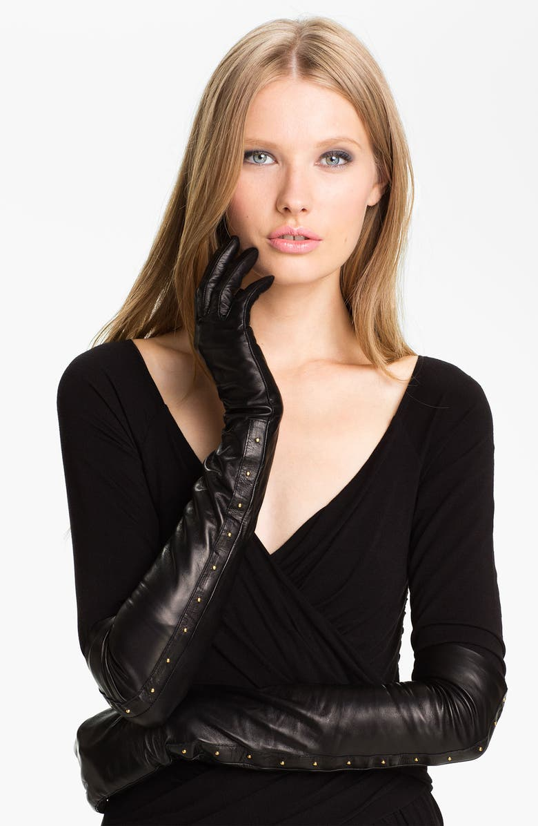 NORDSTROM Opera Length Leather Gloves, Main, color, 001