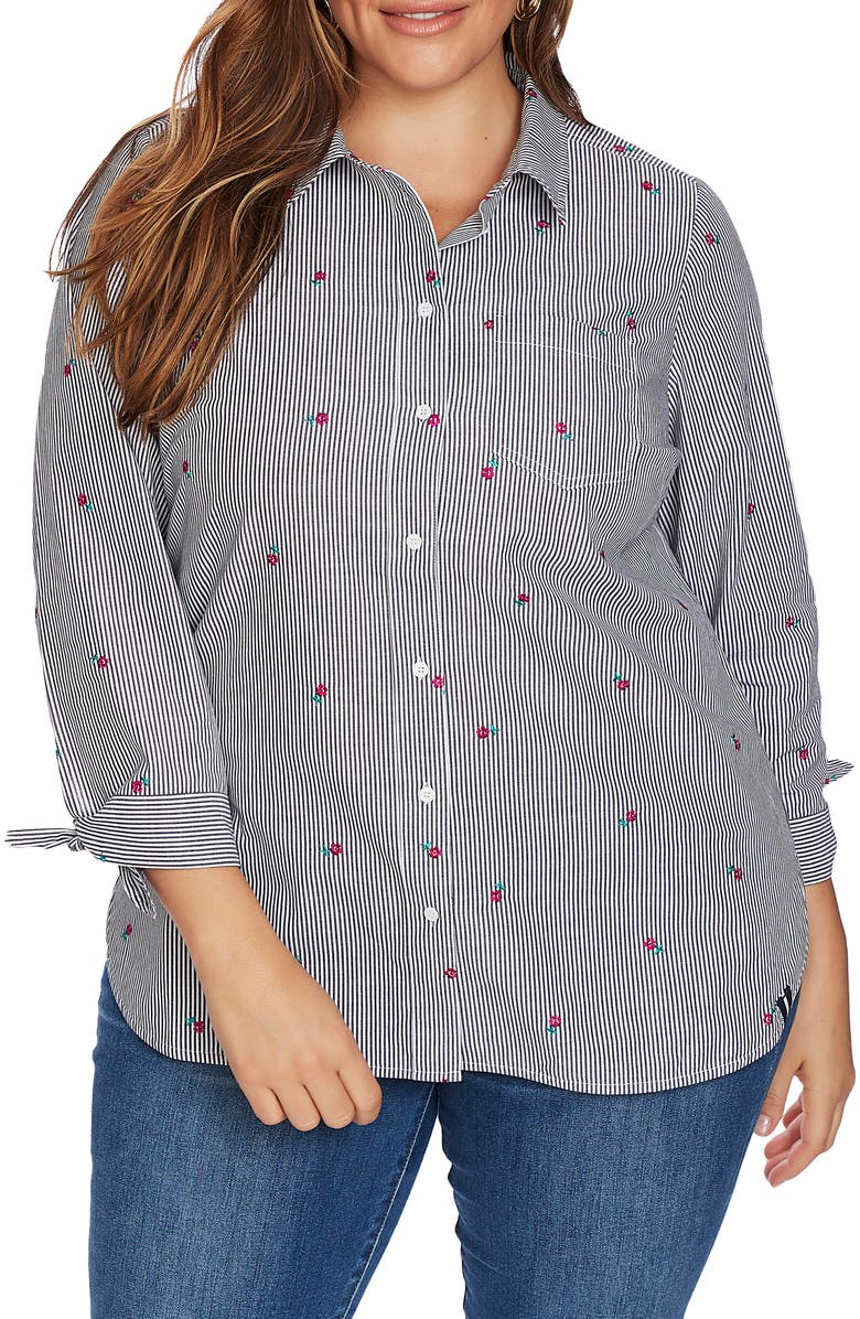 COURT & ROWE Floral Embroidery Pinstripe Cotton Button-Up Shirt, Main, color, 001