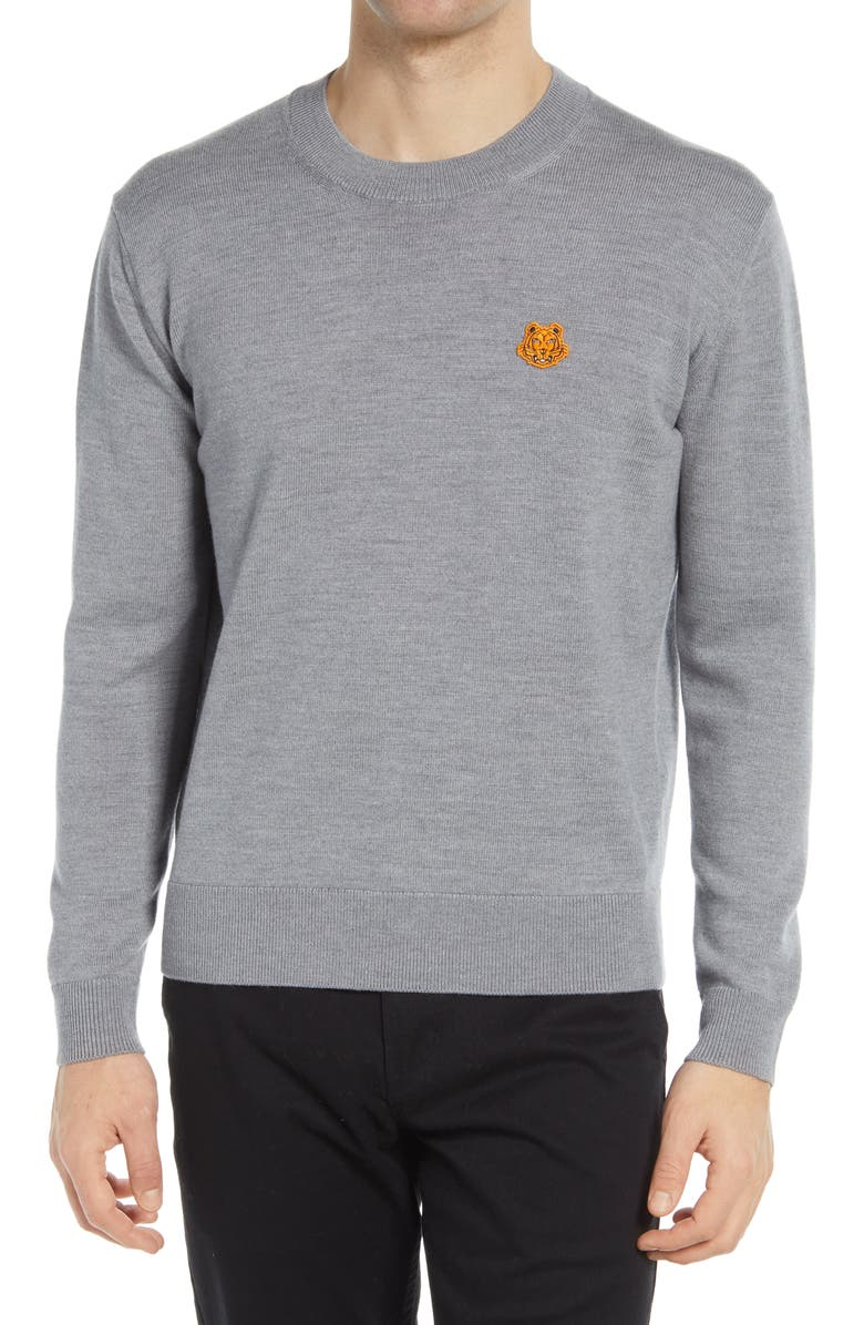 KENZO Tiger Crest Crewneck Wool Sweater, Main, color, DOVE GREY
