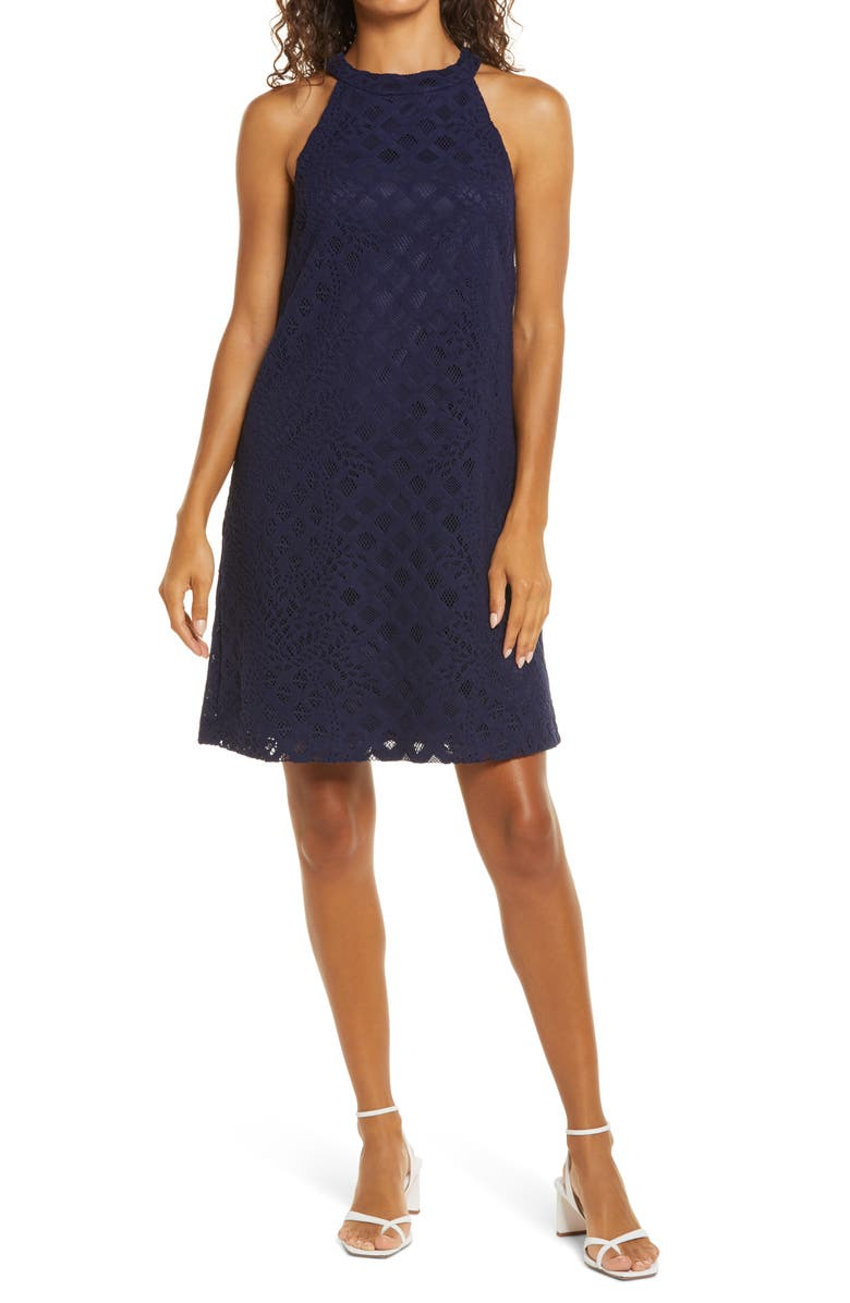 LILLY PULITZER<SUP>®</SUP> Rayanne Lace Shift Dress, Main, color, TRUE NAVY PINEAPPLE GEO LACE