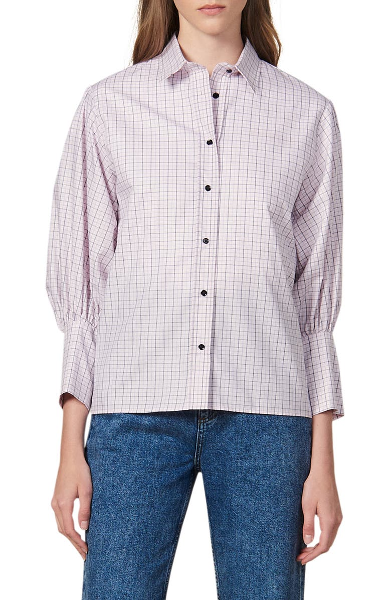 SANDRO Noale Windowpane Check Button-Up Cotton Shirt, Main, color, 650